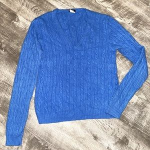 J. Crew Blue Cable Knit Sweater Merino Wool Top L